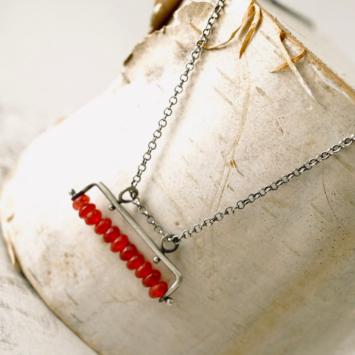 TN Cranberry Jade Bar Necklace