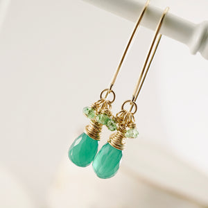 TN Green Onyx Long Earrings