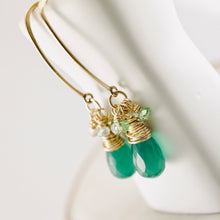 Load image into Gallery viewer, TN Green Onyx Long Earrings
