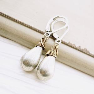 TN Brushed Silver Drop Earrings (Leverback)