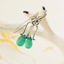 Load image into Gallery viewer, Petite Swings - Green Onyx Earrings 06