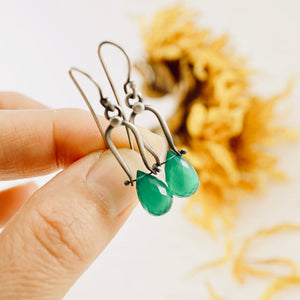 Petite Swings - Green Onyx Earrings 06