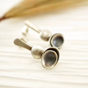 Unique, artisan designed, handmade sterling silver post earrings | Nesting Bowls collection