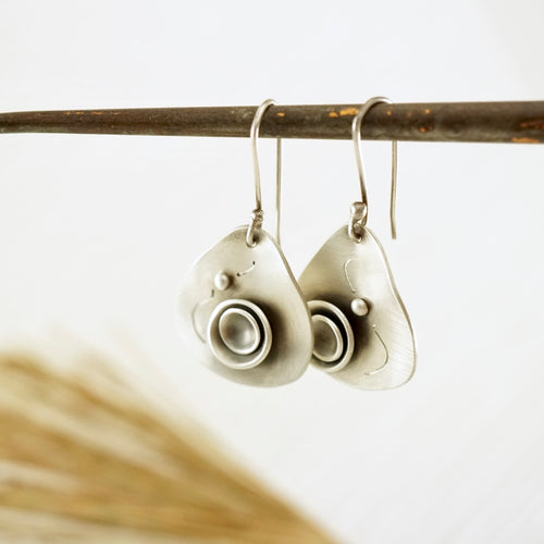 Unique, artisan designed, handmade sterling silver triangular earrings | Nesting Bowls collection