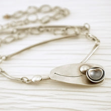 Load image into Gallery viewer, Unique, artisan designed, handmade sterling silver offset necklace | Nesting Bowls collection