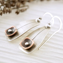 Load image into Gallery viewer, Unique, artisan designed, handmade sterling silver and copper, short ear wire earrings | Square Pods collection