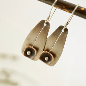 Unique, artisan designed, handmade sterling silver and copper, short ear wire earrings | Square Pods collection