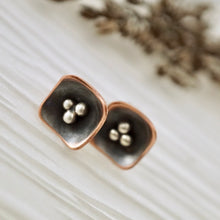 Load image into Gallery viewer, Unique, artisan designed, handmade sterling silver and copper, single pod, stud earrings | Square Pods collection