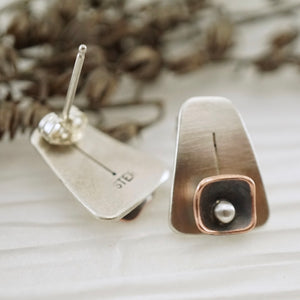 Unique, artisan designed, handmade sterling silver and copper, post earrings | Square Pods collection