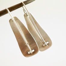 Load image into Gallery viewer, Unique, artisan designed, handmade sterling silver and copper, long ear wire earrings | Square Pods collection