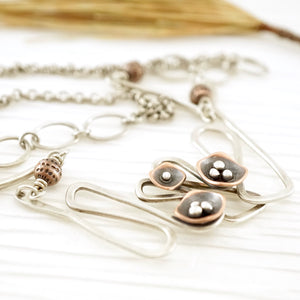 Unique, artisan designed, handmade sterling silver and copper, squiggle necklace | Square Pods collection