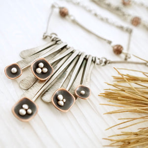 Unique, artisan designed, handmade sterling silver and copper, fringe necklace | Square Pods collection