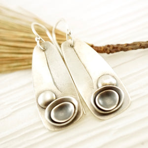 Unique, artisan designed, handmade sterling silver earrings | Nesting Bowls collection