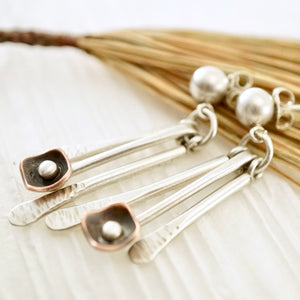 Unique, artisan designed, handmade sterling silver and copper, fringe earrings | Square Pods collection