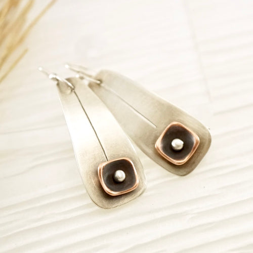 Unique, artisan designed, handmade sterling silver and copper, long ear wire earrings | Square Pods collection