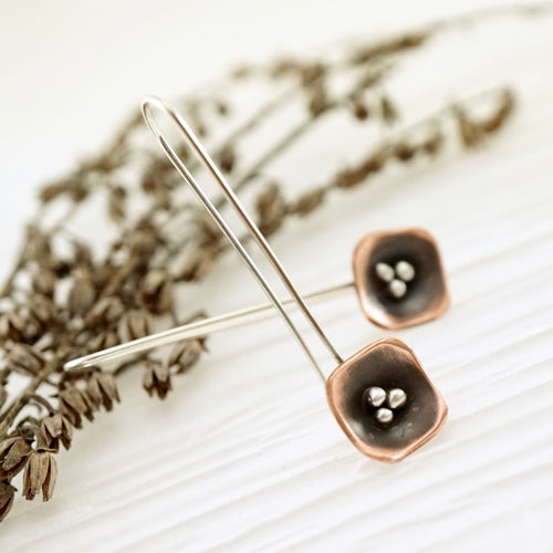 Unique, artisan designed, handmade sterling silver and copper, single pod, long ear wire earrings | Square Pods collection