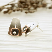 Load image into Gallery viewer, Unique, artisan designed, handmade sterling silver and copper, post earrings | Square Pods collection