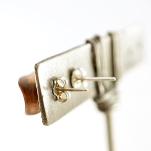 Unique, artisan designed, handmade sterling silver and copper, single pod, stud earrings | Square Pods collection