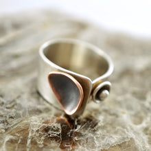 Load image into Gallery viewer, Unique, artisan designed, handmade sterling silver and copper ring | dancing triangles collection