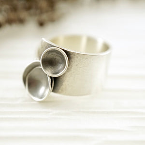 Unique, artisan designed, handmade sterling silver, 3 bowl ring | Nesting Bowls collection