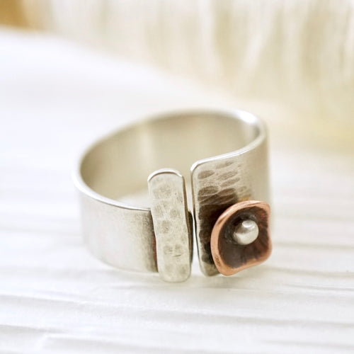 Unique, artisan designed, handmade sterling silver and copper, open band ring | Square Pods collection