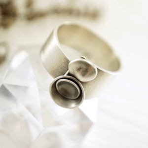 Unique, artisan designed, handmade sterling silver, 2 bowl ring | Nesting Bowls collection