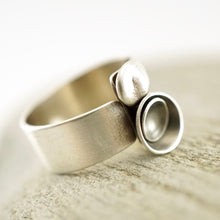 Load image into Gallery viewer, Unique, artisan designed, handmade sterling silver, 2 bowl ring | Nesting Bowls collection