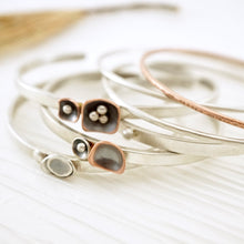 Load image into Gallery viewer, Unique, artisan designed, handmade sterling silver and copper cuff bracelet | Square Pods collection