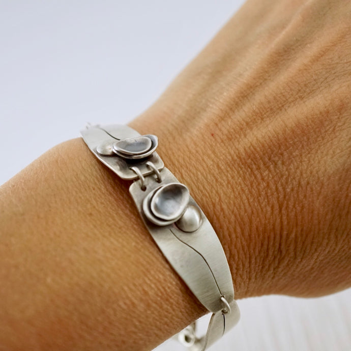 Unique, artisan designed, handmade sterling silver link bracelet | Nesting Bowls collection