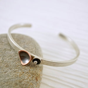 Handcrafted sterling silver dancing triangles cuff bracelet