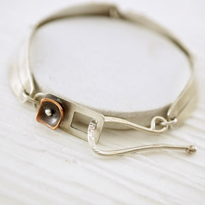 Unique, artisan designed, handmade sterling silver and copper link bracelet | Square Pods collection