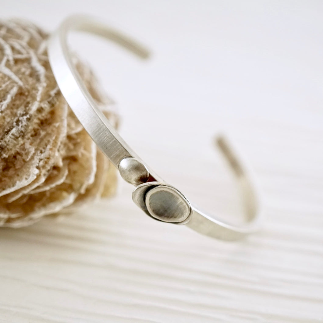 Unique, artisan designed, handmade sterling silver cuff bracelet | Nesting Bowls collection
