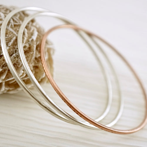 Artisan designed, handmade sterling silver or copper, stackable bangle bracelet | Layers and Stackables collection