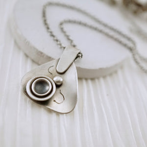 Unique, artisan designed, handmade sterling silver triangular necklace | Nesting Bowls collection
