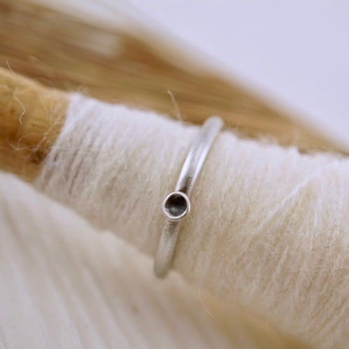 Unique, artisan designed, handmade sterling silver, stackable pod ring | Layers and Stackables collection