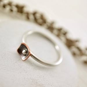 Unique, artisan designed, handmade sterling silver and copper, closed band ring | Square Pods collection
