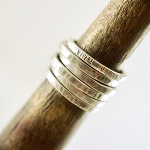 Unique, artisan designed, handmade sterling silver, stackable textured ring | Layers and Stackables collection