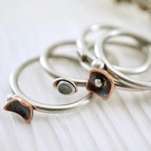 Load image into Gallery viewer, Unique, artisan designed, handmade sterling silver and copper, closed band ring | Square Pods collection