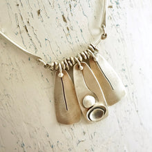 Load image into Gallery viewer, Unique, artisan designed, handmade sterling silver trio pendant necklace | Nesting Bowls collection