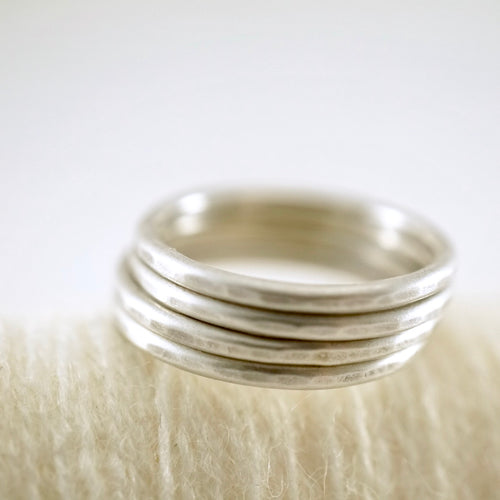 Unique, artisan designed, handmade sterling silver, stackable ring | Layers and Stackables collection