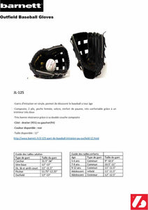 JL-125 GANT DE BASEBALL INITIATION PU OUTFIELD 12, NOIR