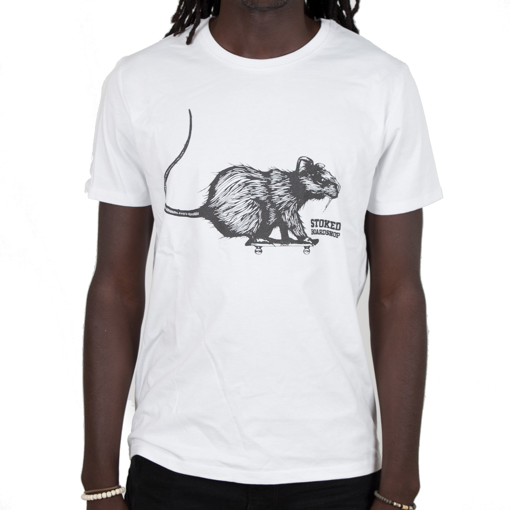Skate rat Big white t-shirt - Stoked Boardshop  - 1