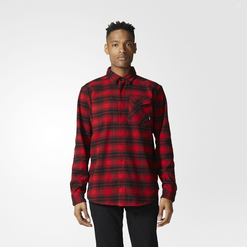 Stretch Flannel Scarlet/Black