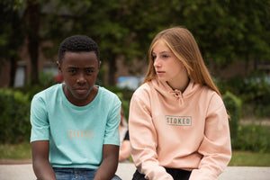 Youth Box Logo peach tee heather mint