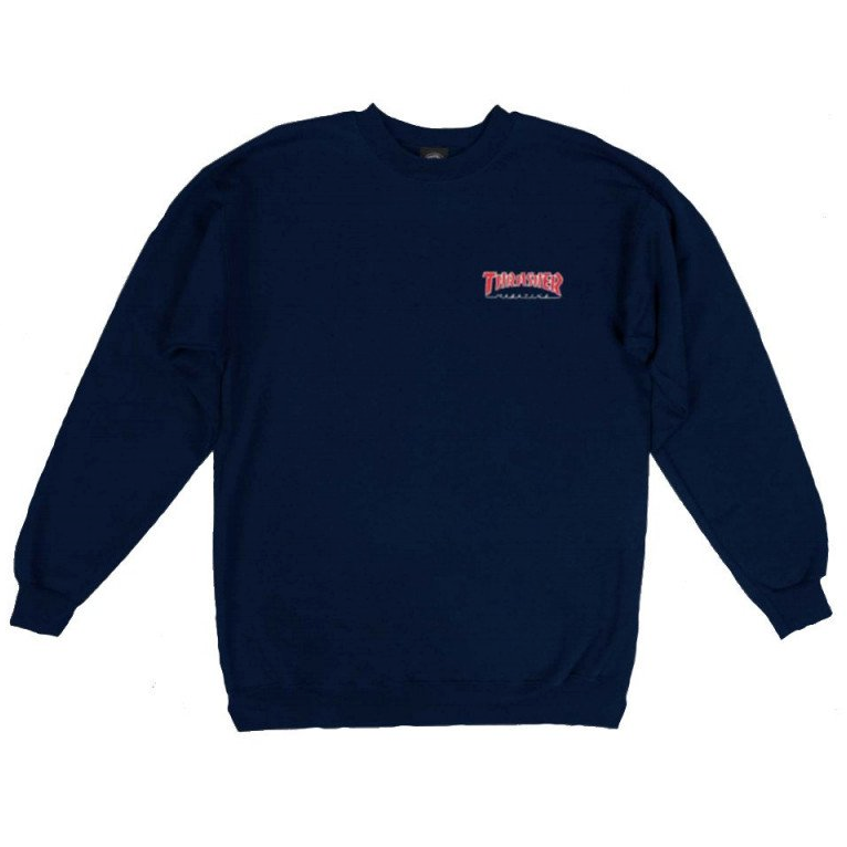 Embroidered Outlined Sweat Crew Navy