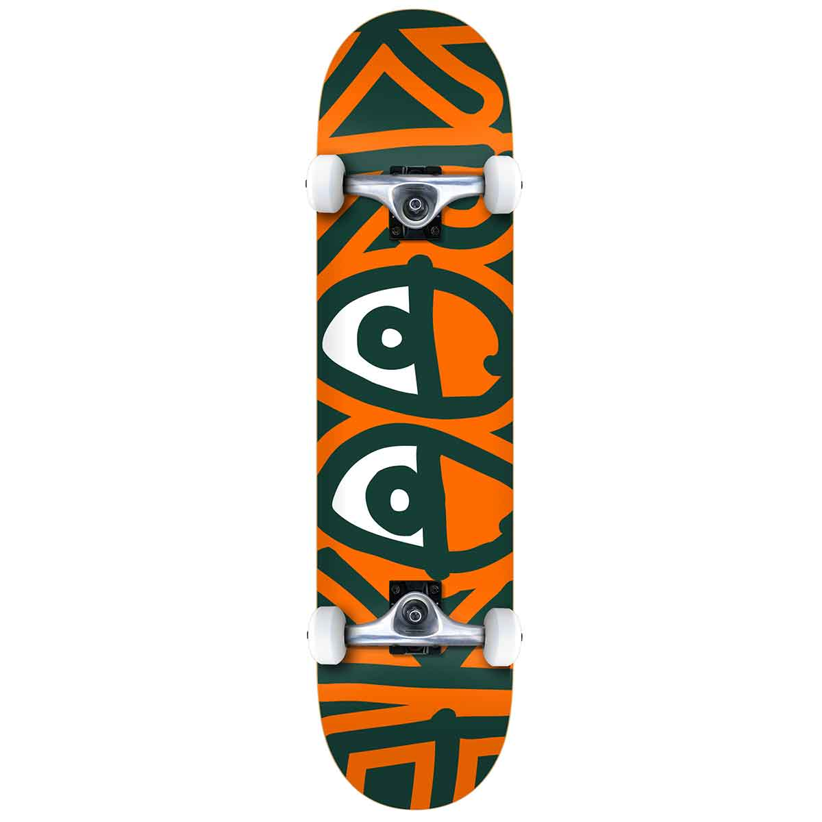 "Big Eyes Two Green/Orange Large 8.25"" Complete Skateboard"