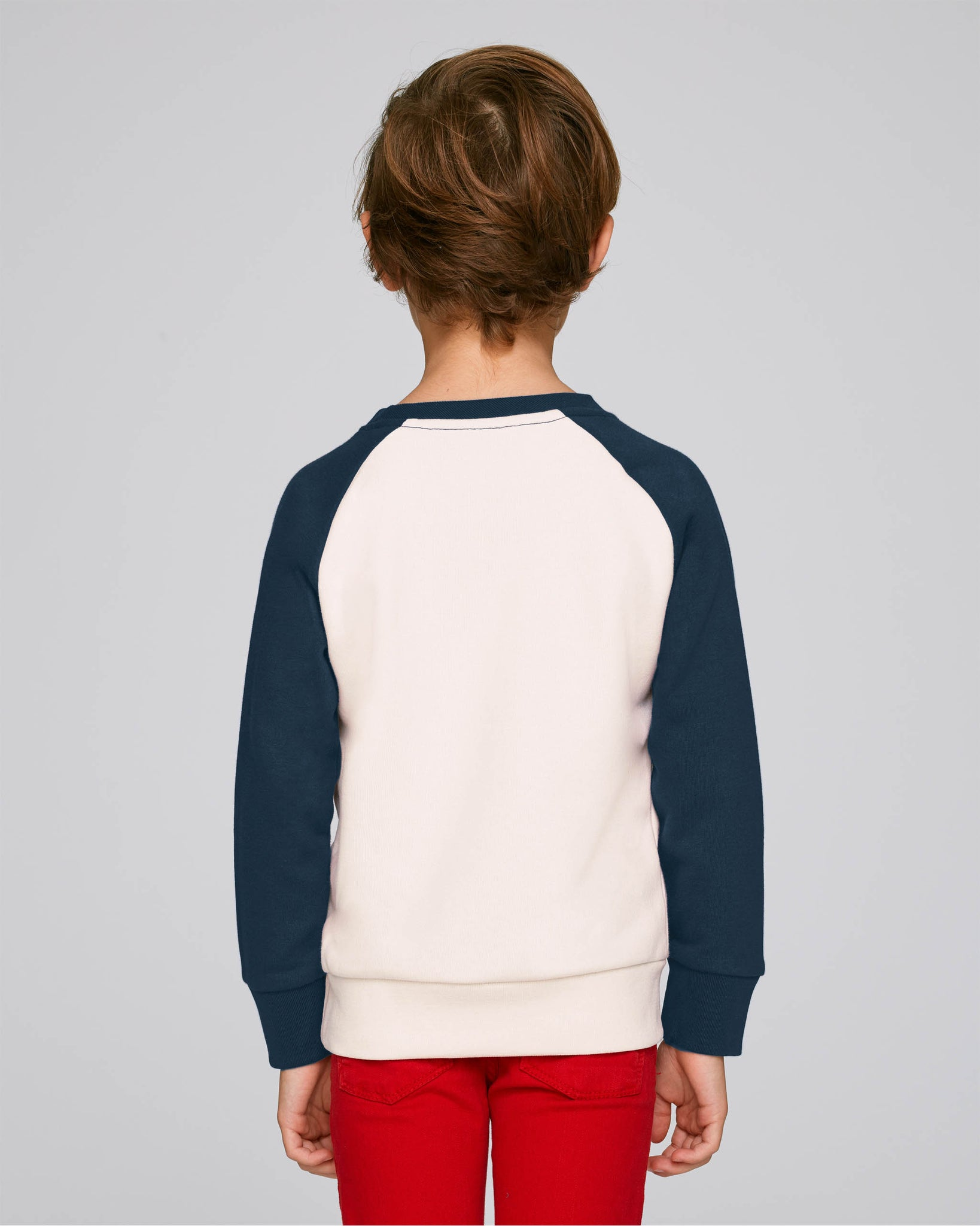 Youth Shield contrast sleeve crew navy