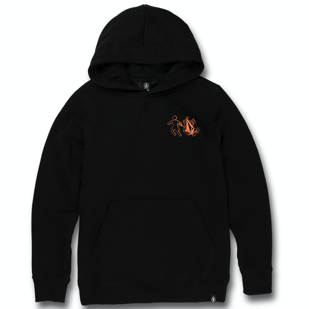 Kids VLCM X Girl Skateboards Stonely Pullover Hoodie Black