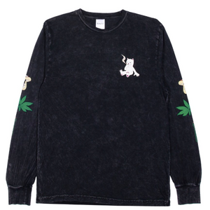 Herb Eater Longsleeve T-shirt Black Mineral Wash
