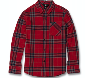 Youth Caden Plaid Longsleeve Shirt Engine Red